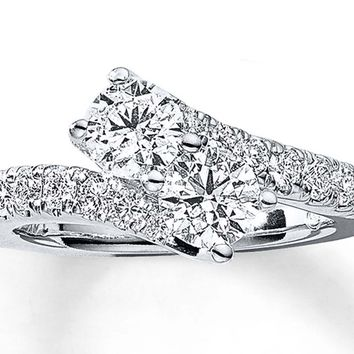 1-1/2 CT. T.W. TWO-STONE DIAMOND BYPASS RING IN 14K WHITE GOLD