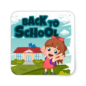 Back To School Cartoon Square Sticker