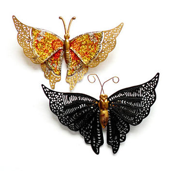Vintage Butterfly Brooch Pair - Glitter Sparkle - Filigree - Black Gold -Broach Pin - Stylized Fantasy - Bridal Wedding Bride Brooch Bouquet