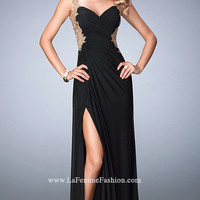 Long La Femme Open Back Sweetheart Prom Dress
