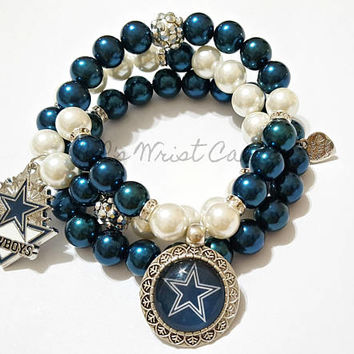 Blue and White Football Bracelet, Dallas, Sports Bracelet Set, Women Charm Bracelets, Team Bracelet, Handmade Custom Beaded Bracelets