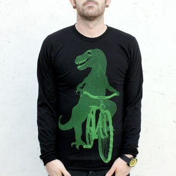Dinosaur on a bike print on a black long by darkcycleclothing