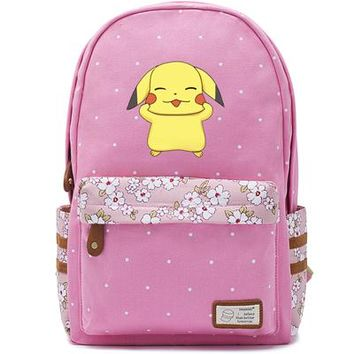 Anime Backpack School 2018 kawaii cute Fat cat Canvas bag Flowers wave point Rucksacks pikachu backpack Girls women Student School Bags travel Shoulder Bag AT_60_4