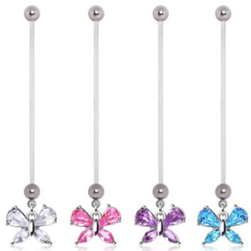 BioFlex Small Butterfly Dangle Pregnancy Navel Ring
