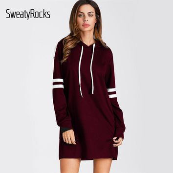 SweatyRocks Burgundy Varsity Striped Short Hoodie Dress Women Long Sleeve Casual Sweatshirt Dress Shift Dress For Ladies