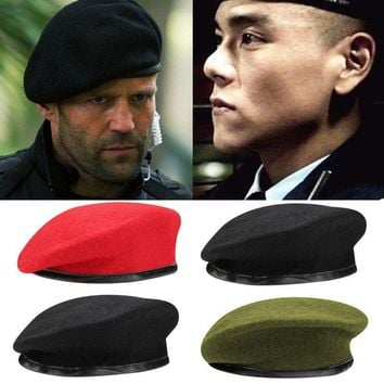 US Unisex Military Army Soldier Hat Wool Beret Men Women Uniform Adjustable Cap
