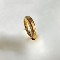 Vintage Elegant Modernist Ring with Slight Texture to the Front, 18K HGE Yellow Gold in an Approximate Size 5