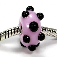 Bubble Gum Pink Large Hole Bead With Raised Black Dots lhb1904064rd, Handmade Lampwork Glass Bead, Slider Bracelet Bead (Choices of Shiny or Etched)