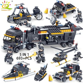 Military Swat Soldier with Weapons Building Blocks compatible legoed Army city guns bricks enlighten Toys for Children Friends