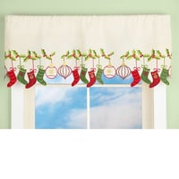 Dangling Stockings Ornaments Green Red Window Valances 2 Pc Set