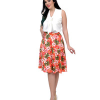 Coral Pink Hawaiian Floral High Waisted Scuba Knit Swing Skirt