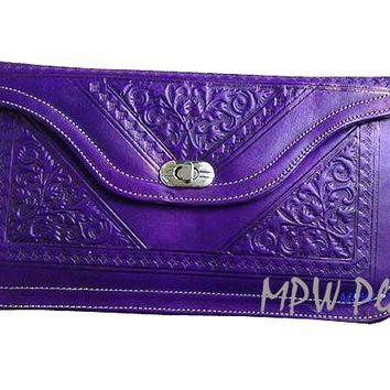 Moroccan Leather clutch bag - Purple