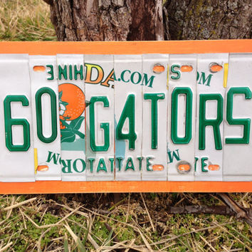 GO GATORS Custom Recycled License Plate Art Sign Plaque
