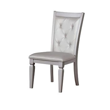 Button Tufted Leather Upholstered Side Chair, Silver, Pack Of Two -CM3452SC-2PK