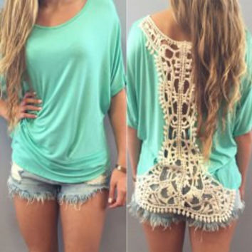 Green Cut Out Crochet T-Shirt