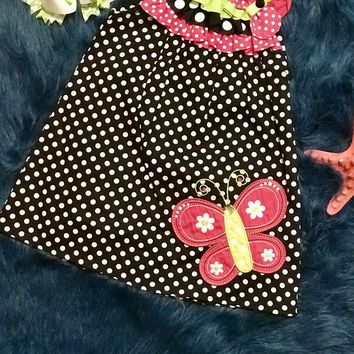 Spring Fun Adorable Black Polka Dot Butterfly Dress