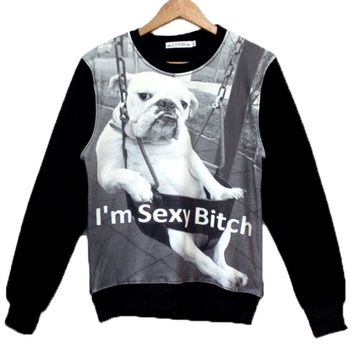 "Grumpy Bulldog on A Swing ""I'm Sexy Bitch"" Graphic Print Unisex Pullover Sweater in Black and White"