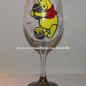 Pooh inspired wine glass