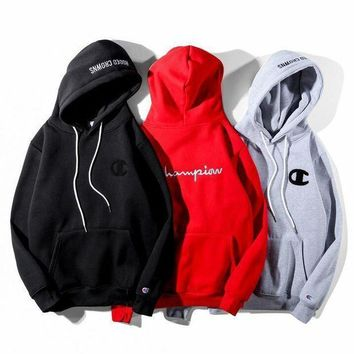 Champion Fashion Embroidery Hooded Pullover Tops Sweater Sweatshirts Hoodie