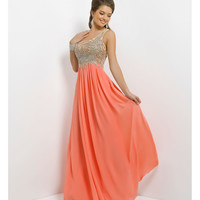 Blush- Coral Pink Beaded Chiffon One Shoulder Prom Dress Prom 2015