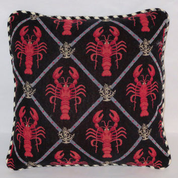 Red Lobster Tapestry Throw Pillow Black White Check Nautical Coastal Beach Ocean Sea Maine New England Cover and Insert Included Ready Ship