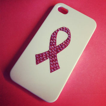 iPhone 4 / 4s Breast Cancer Awareness Pink Ribbon Crystal Bling Rhinestone case