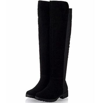 Flat Thigh High Over Knee Suede Stretch Warm Snow Boots