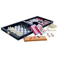 Multi-Game Travel Set in Leather/Vinyl Case