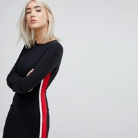 Pull&Bear Side Stripe Jersey Dress at asos.com