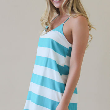 Striped Racer Back Dress - Jade