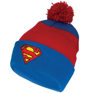 Superman - Shield Logo Pom Pom Knit Hat - Red (Color: Red) = 1945926276