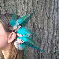 Feather Ear cuff, turquoise feather ear cuff, Natural feather, feather earring, Statement Jewelery, Native american style, Indian feather