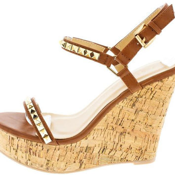 Studded Strap Cork Wedge Sandals