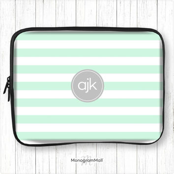 Personalized laptop sleeve, macbook, macbook pro, macbook air, universal, 10, 11, 13, 15, monogram, case, striped, stripes, mint green