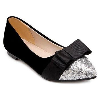 Glitter Color Block Bow Flat Shoes - Black 41
