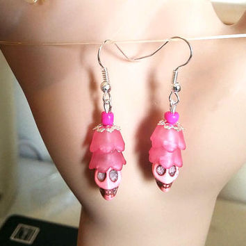 handmade skull earrings Sugar Skull Earrings Day of the Dead Earrings pink Dia De Los Muertos Earrings punk goth