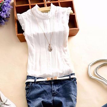 Summer Style Vogue Women Ruffle Sleeve Neck Slim Fitted Shirts Casual Office Lady White Blouse Tops Tees