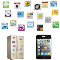18pcs set Mobile Phone App Type Fridge Magnet Fridge Sticker ICON Whiteboard Refrigerator Magnets Memo Hot Sale