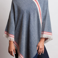 Denim and Red Poncho