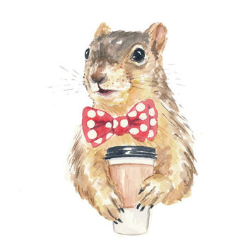 Squirrel Watercolor ORIGINAL Painting - Coffee Squirrel, 8x10 Illustration, Fox Squirrel