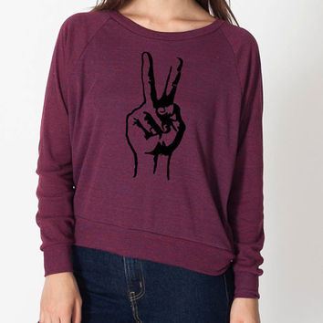 Peace Hipster Cute Cool Sweater Fun Adorable American Apparel Womens Tri Blend Light Weight Raglan Pullover