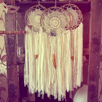 Bohemian Dreamcatcher -  Boho Bedroom Decor -  White Dream Catcher - Gypsy Wall Hanging Decor - Lacy Dreamcatcher -Made To Order