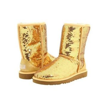 DCCKIN2 Cyber Monday Uggs Boots Classic Short Sparkles 3161 Gold For Women 114 45