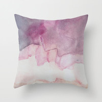 Pillow cover with fine art print, shades of purple and beige.