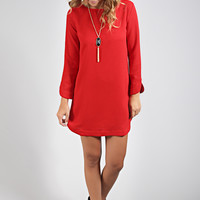 long sleeve bubble gum shift dress - red