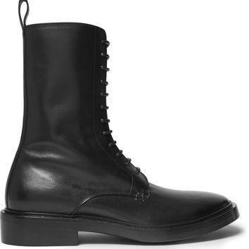 balenciaga leather derby combat boots 2