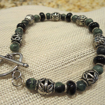 Bracelet Black & Deep Green semi precious Kambaba Jasper, Black Agate Gemstone Women Girls Jewelry Chic Bohemian Vintage Antique Look