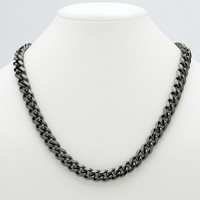 Men's Black Rhodium-Plated Curb-Link 10.5 mm Necklace Chain 24""