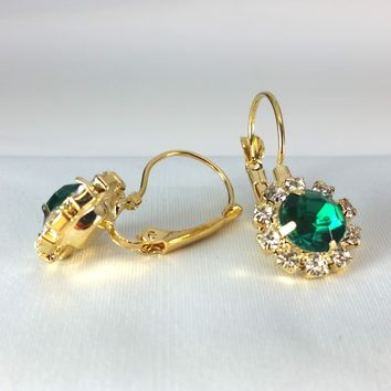 Emerald Crystal Flower Drop Lever Back Earrings - White or Yellow Gold