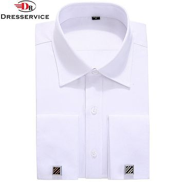Men French Cuff links Shirt New Men's Shirt Long Sleeve Casual Male Shirts Slim French Cuff Dress